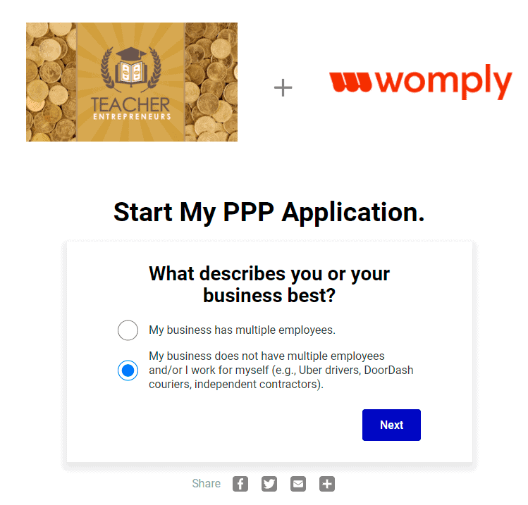 PPP Loan Based on Gross Income for Self Employed Womply